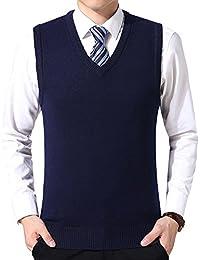 Herren V-Ausschnitt Pullunder Ärmellos Business Strickweste Einfarbig  Stricken Weste 8431dc52d9