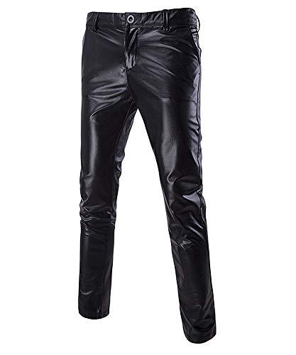 Huateng Bright Laser Clubwear Hosen Herren Motorrad PU Lederhose Sänger Kostüme Plus Größe Schwarz L