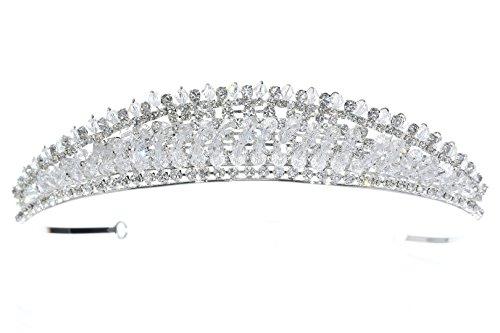 Venus Jewelry Tiara o corona luminosa de boda de cristal para mujer Plateado