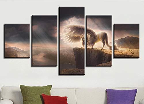 XYZNB Leinwanddrucke 5 Stück Tier White Horse Mountain River Landschaft Wandkunst Bild Dekor Zimmer Hd Print Gemälde (Größe 2) Kein Rahmen