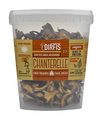 Sun Dried Wild Chanterelle Mushrooms by Dirfis | Hand Picked from Greek Forests | 80gram