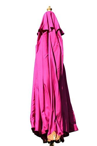 Gartensonnenschirm in Spitzenqualität aus Hartholz - 3m Spannweite - 8 Farben zur Auswahl (Rosa)