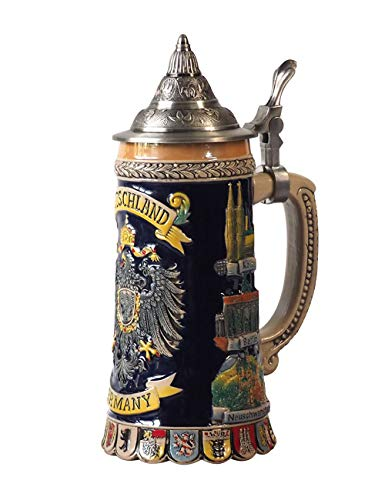 HomeBerry 0.6L German beer mug German beer mugs Beer stein mug Beer mug with cap Beer mug Bierkrug Bierkrüge Germany Beer Mugs Beer Stein Bier Mug Stein Bier