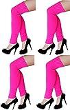 krautwear® Damen Beinwärmer Stulpen Legwarmers Overknees gestrickte Strümpfe ca. 70cm 80er Jahre 1980er Jahre (4x pink)