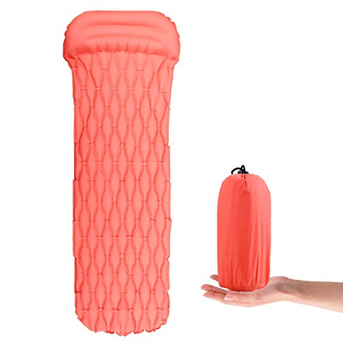 Alfreco materassino da campeggio, ultra leggero e portatile con cuscino per escursionismo, zaino in spalla, amaca, tenda (arancione)
