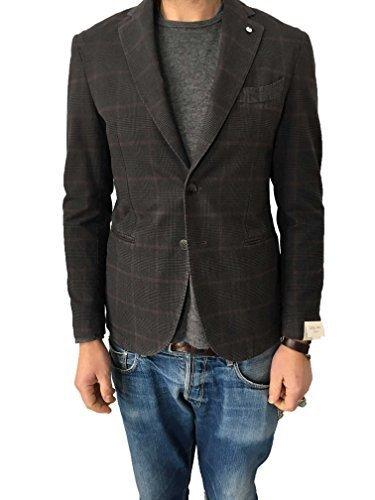 L.B.M 1911 giacca uomo grigio principe di galles 100% cotone vestibilità slim