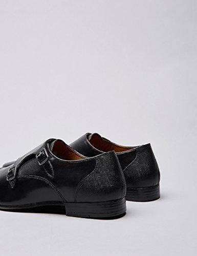 FIND Schuhe Herren mit Lasche und Blockabsatz Schwarz (Black)