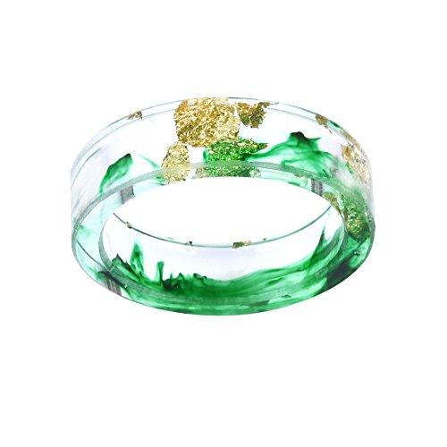 Grüne Tinte Mit Gold Paper Inlay Resin Ringe Für Frauen Männer Band Größe - Herren Ring Versprechen Gold