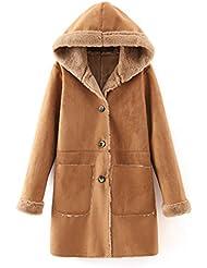 CU@EY Manteau / féminin mode hooded cardigan / suede / long manteau de fourrure
