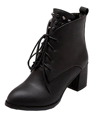 YE Damen Spitze Blockabsatz High Heels Stiefeletten Zum Schnüren mit Nieten 6cm Absatz Ankle Boots Schwarz