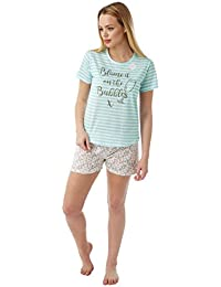 Indigo Sky Knitted Jersey Ladies Champagne Short Pyjama 45ba406b3