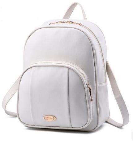 LDMB Damen-handtaschen PU Leder koreanischen lässig Vertikalschnitt geprägte Volltonfarbe Studentinnen Rucksack Tasche meters white