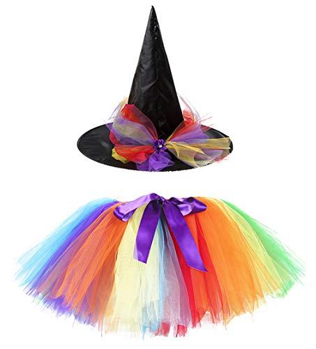 Kiniris Kostüm Halloween Hexe Tutu Kind Mädchen/Damen Rock Tüll Bunte Fliege Kostüm Mit Kapuze Schwarz Cosplay (Regenbogen, 4-7 Jahre) (Hexe Regenbogen Kostüm)