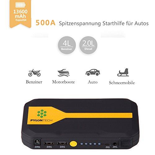 Homelody Arrancador Coche 13600mAh  500A Jump Starter para la coche 4.0L Gasolina y 2.0L Diesel Cargador Batería &Power Bank con Puerto de USB y La Linterna LED para Teléfono Móvil y Tableta