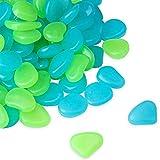 HomTop Leuchtender Stein, Glow in The Dark Kieselsteine, 200 Stück Blau und Grün Outdoor Glow Rocks Stones für Pflanzen, Gehwege, Pfad, Aquarium DIY Dekorationen
