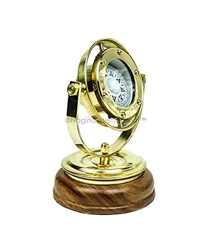 12,7cm Messing gimbaled Nautisches Voll funktionsfähig gerichtete Kompass mit Sockel aus Holz Ständer & drehbar Axis   Maritime Geschenk Decor   NAGINA