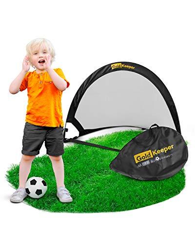 GoldKeeper® Fußballtor für Kinder [2019er Version] - Kleines Falttor für Fußball & Hockey - Perfekter Spielspaß im Garten, Strand oder Wohnung - Klein, Faltbar & Mobil - Pop Up Tor inkl. Tasche