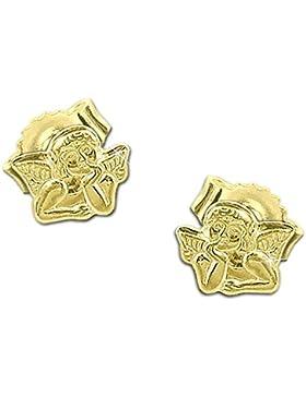 CLEVER SCHMUCK Goldene kleine Ohrstecker Mini Engel 5 x 4 mm glänzend und klassische Form 333 GOLD 8 KARAT