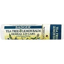 Árbol de té y bálsamo de limón de hierbas cuidado de los labios con manteca de cacao - Badger Company