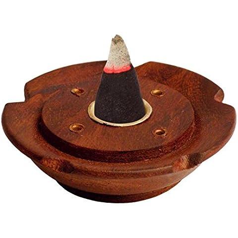 Madera incence incence quemador Holder 3inc placa redonda, caja de quemador de incienso de madera, Soporte incienso,Acción de Gracias y de la Navidad