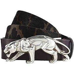 GUT INSTINKT Cinturón de leopardo de cuero italiano de lujo artesanal - LAMBADI (Marron oscuro 85cm)