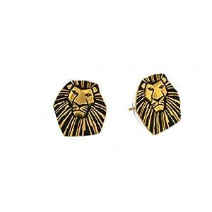 Disney Couture Lion King Gold-Plated & Black Enamel Mufasa Stud Earrings