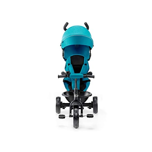 Kinderkraft Aveo KKRASTOTRQ0000 Tricycle with Accessories in 3 Colours Blue kk KinderKraft Five point safety straps for the shoulders and an additional strap between the legs to protect the child from falling out A mechanism that connects the parent handlebar with the child's handlebar so that parents can have full control over the bike guidance when required. Free-wheel that causes the child to rmble freely regardless of the person who leads the bike 5