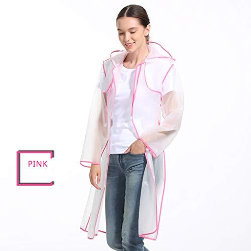XHLJ Eva-Regenmantel-Rand-Langer Weg, Der Transparenten Poncho Radfährt Erwachsene Männer Und Frauen Reisen Bewegliche Wiederverwendbare Regen-Mantel-Regenbekleidung (Farbe : Rosa, größe : XL) (Erwachsene Für Rosa Mantel Regen)