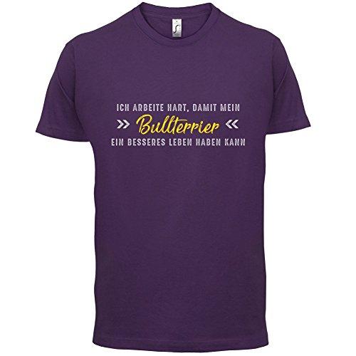 Ich arbeite hart, damit mein Bullterrier ein besseres Leben haben kann - Herren T-Shirt - 12 Farben Lila