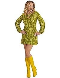 shoperama Robe Style années 70s Style rétro en Papier Peint pour Femme Vert 91945fff78c4
