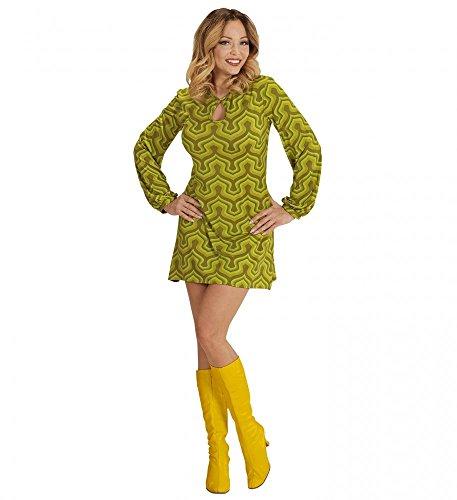 70er Jahre Retro KLEID mit Tapetenmuster Grün Disco Damen Kostüm Siebziger 70s, ()