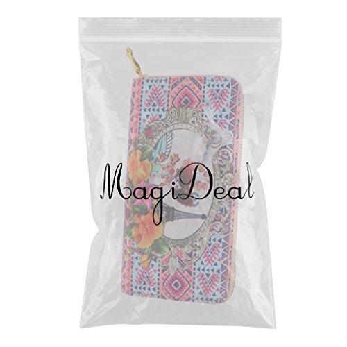 MagiDeal Portafogli Borsa Pochette da Giorno Porta ID Credito Carda Frizione per Signora Donna Rosa