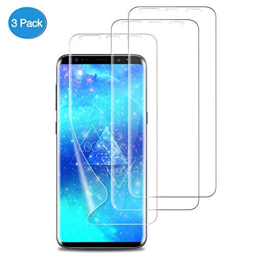 SEEZEN 【3 stück】 Samsung Galaxy S9 Schutzfolie,[Nass-Installation] [Vollständige Abdeckung] [Blasenfreie] HD Klar Flexible Folie für Samsung Galaxy S9