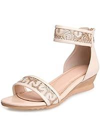 ad843289e4a3 Dayiss® Elegant Damen Schuhe Spitze mit Keilabsatz Römersandalen Sandalettn