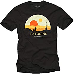 MAKAYA Tshirt Manga Corta Cuello Redondo - Tatooine Star Mos Eisley - Camiseta Frikis para Hombre Negro Talla XL