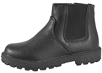 NEW BOYS BLACK SCHOOL FAUX LEATHER CHELSEA DEALER ANKLE BOOTS SHOES PULL ON SIZE  8 UK Child