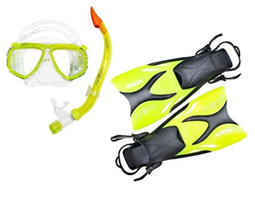 Aqua Lung Schnorchel Set Kinder - vom Top Hersteller bestehend aus Flossen Schnorchel Tauchmaske - Wertige Junior Schnorchelausrüstung - perfekte Passform (exklusiv Lime transparent 33-36