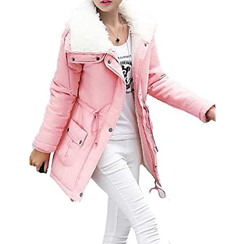 JY$ZB FuRuiXiang® Women's Medium-long Faux Fur Collar 90% White Duck with Detachable Hat Down Jacket Slim Keep Warm Outerwear , pink-xl ,