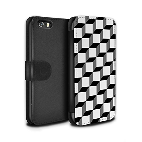 Stuff4 Coque/Etui/Housse Cuir PU Case/Cover pour Apple iPhone SE / Conception Géométrique Design / Mode Noir Collection Cube 3D/Modèle