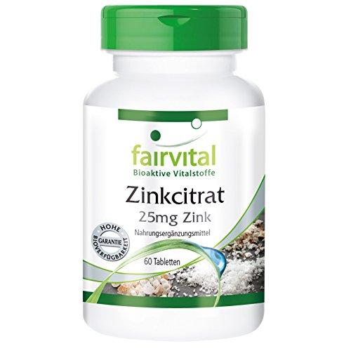 Zinkcitrat - 25mg Zink - 60 Tabletten - bioverfügbar organisch - Reinsubstanz