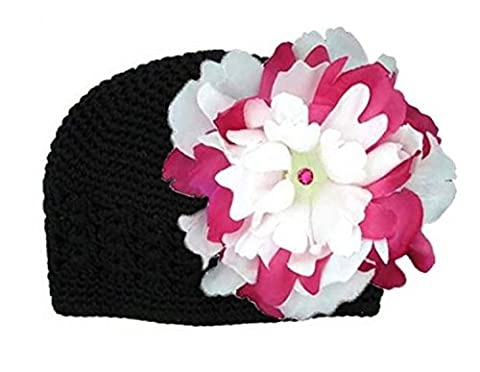 Black Crochet Hat with White Raspberry Large Peony, Size: 12-18m