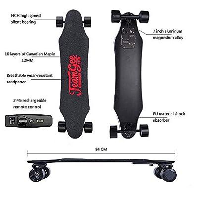 HBMX Elektro-Skieboeboard mit Fernbedienung, Elektro-Longboard mit 10 Layer Maple Fiber, Double Drive Motor Electric Skateboard, 18KM Range 30km/h Top Speed