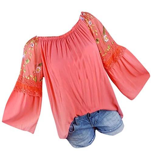 TianWlio Langarmshirt Damen Mode Frauen Oansatz Bluse Blumenstickerei Spitze Flare Sleeve T-Shirt Tops T-Shirt Damen Langarmshirt Longsleeve