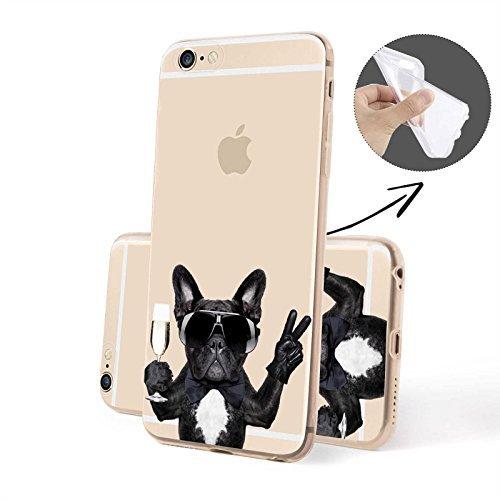 FINOO   Iphone 6 / 6S Plus Weiche flexible Silikon-Handy-Hülle   TPU Cover Schale mit Motiv   Tasche Case mit Ultra Slim Rundum-schutz   stoßfestes dünnes Bumper Etui   Hund mit Sekt von der Seite Hund mit Sekt