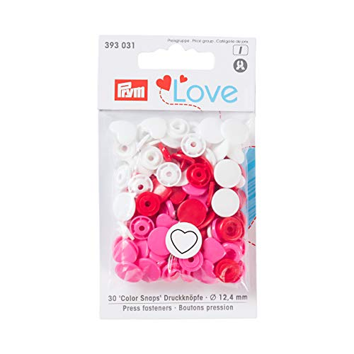 Prym Love Druckknopf Color Herz 12,4 mm rot/weiß/pink, Polyester