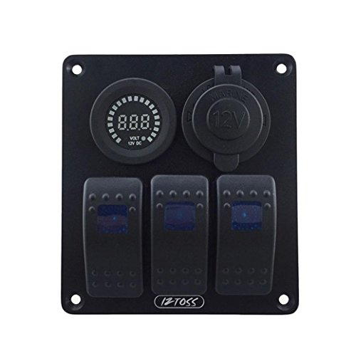 Auto Auto Boot Schalter - Kingwo Voltmeter Wasserdicht DC12V 3 Gang Blue Rocker Switch Panel mit DC 12V Voltmeter & Power Ladegerät Sockel für Marine Boat Car RV