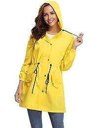 07b7016bca6b Manteau Imperméable Veste de Pluie Femme Poncho Pluie à Capuche Zippé Cape  de Pluie Manches Longues
