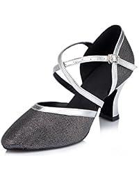 misu - Zapatillas de danza para mujer Plateado plata, color Negro, talla 38.5