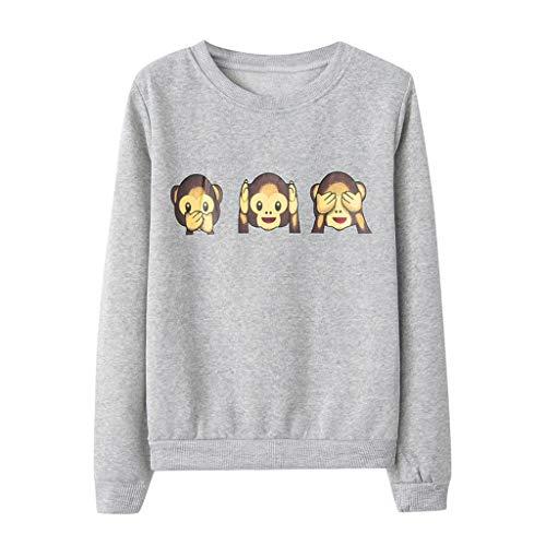 MOTOCO Damen Top T Shirt Kausal Tier gedruckt O-Ausschnitt Langarm Bluse Sweatshirt Pullover(S,Grau)