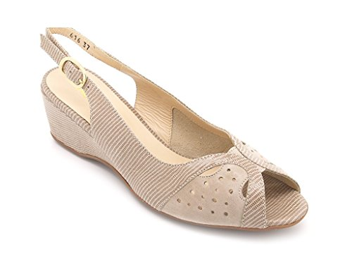 Melluso Sandales femmes dessus cuir semelle en caoutchouc haute calage 5,5 cm. Beige - Beige/Corda